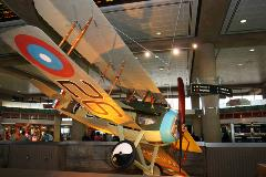 A SPAD XIII hangs overhead in Terminal 3.