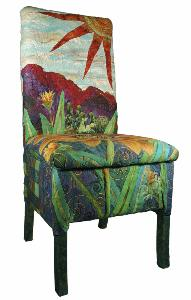a colorful chair with desert imagery