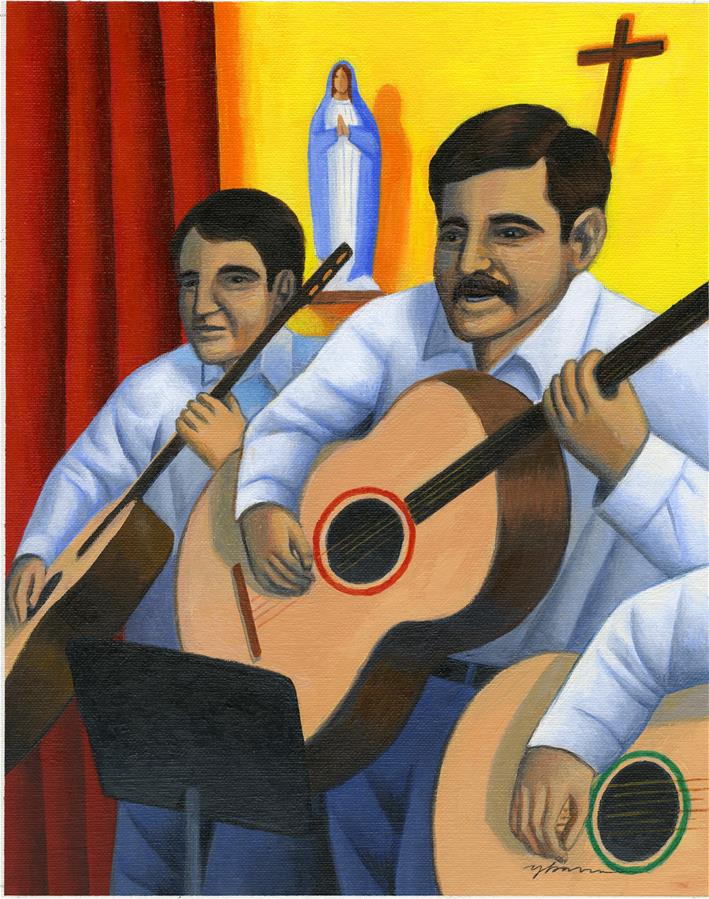 Mariachis with guitars in a church