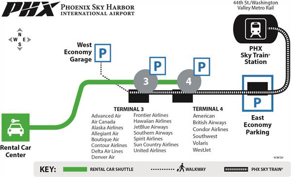Phoenix Airport Map Terminal 3 PHX Sky Train