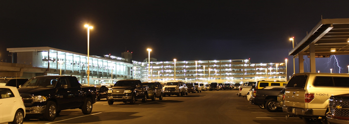East Economy Lot at night/