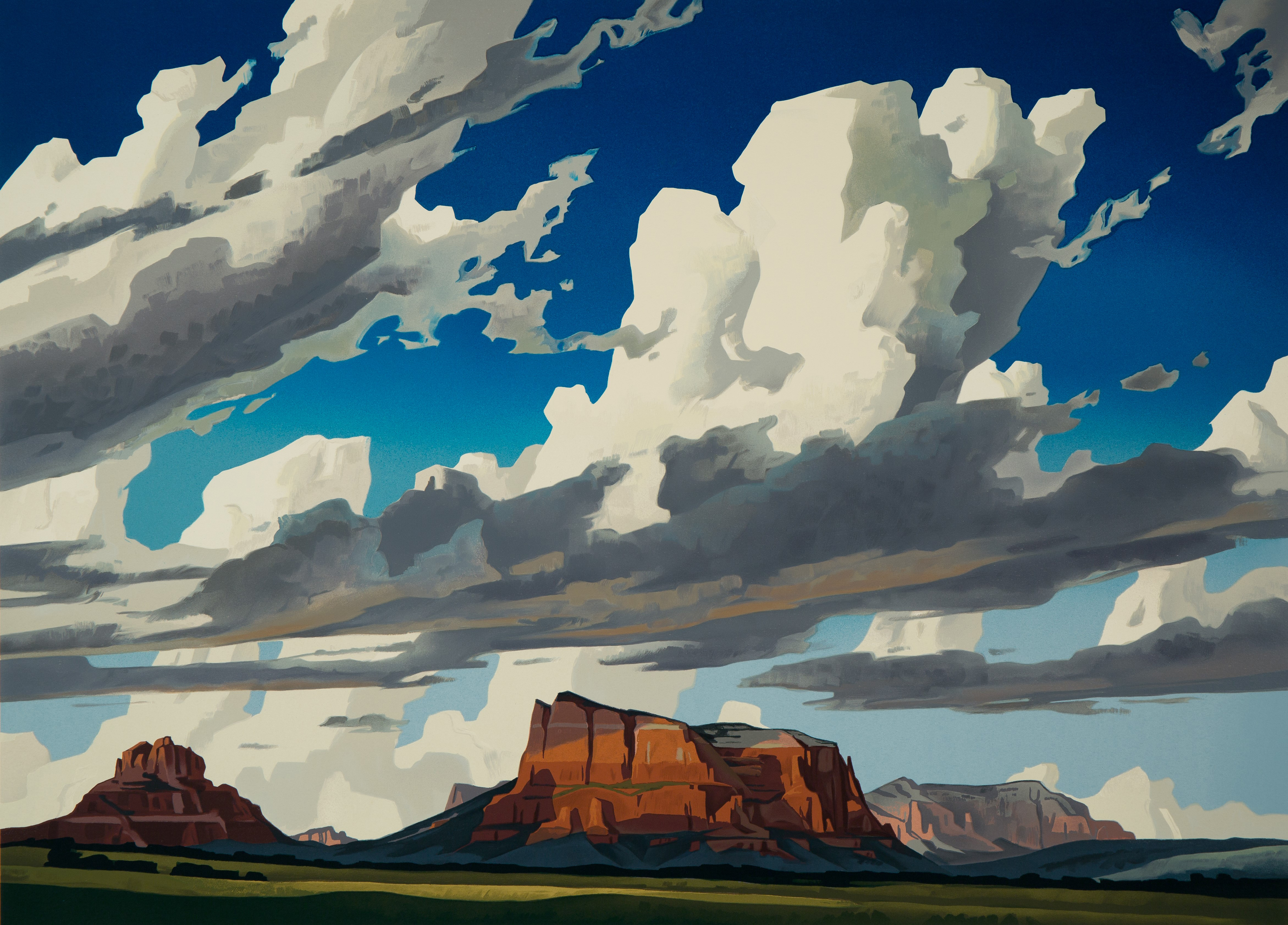 artwork of large blue sky with clouds and mountains