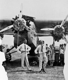 1929 Dedication at Sky Harbor with announcements and Tri-Motor plane
