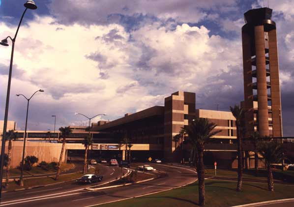 This is Terminal 3 with the prior control tower in the foreground looking southeast, circa 1983.