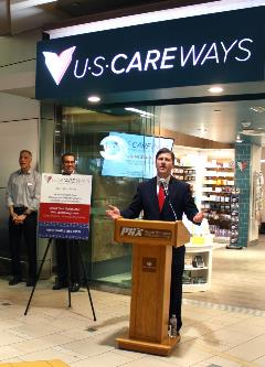 Phoenix Mayor Greg Stanton speaks at the ribbon-cutting ceremony for USCareWays at Terminal 4 of Phoenix Sky Harbor International Airport this morning.