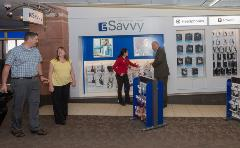 Travelers can stop by eSavvy for tech items and accessories. Featuring headphones, chargers, and more.